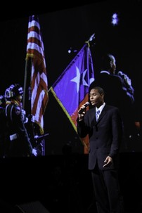 Travis Merriweather, UTSA student, performs the National Anthem at HACU's Opening Plenary